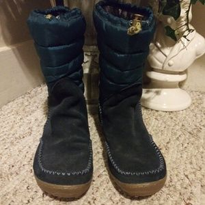 EUC Columbia Blue Suede With Quilting Winter Boot